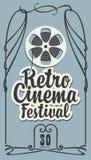 Retro kinowy festiwalu plakat z ekranow? pasek rolk? ilustracji