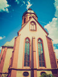 Retro- Kirche Mainz Blick St. Stephan Lizenzfreies Stockbild
