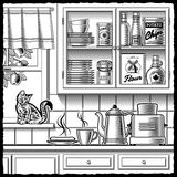 Retro Kitchen Black And White Stock Image