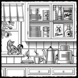 Retro kitchen black and white stock illustration