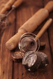 Retro kitchen cookies mould utensils tools on old wooden table i Stock Images