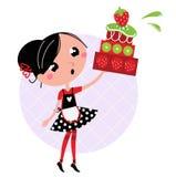 Retro kitchen Girl with big fruity Cake. Cute retro girl holding Cake. Vector cartoon illustration Royalty Free Stock Photos