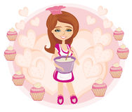 Retro kitchen Girl Royalty Free Stock Images