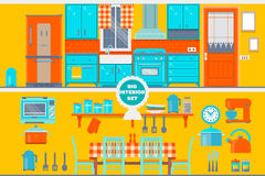 Retro kitchen interior with furniture, utensils, food and devices.  Royalty Free Stock Photography