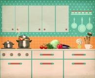 Retro kitchen interior Royalty Free Stock Photo