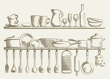 Retro kitchen shelves and cooking utensils. Royalty Free Stock Images