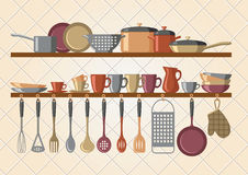 Retro kitchen shelves and cooking utensils. Vector illustration Stock Photography