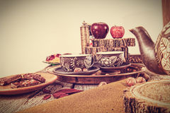 Retro kitchen table in nostalgic still life style Stock Images