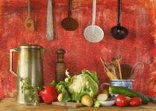 Retro kitchen utensils and vegetables, Stock Photography