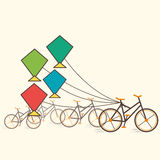 Retro kite with bicycle background Royalty Free Stock Photo