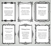 Retro klassieke grenzen en kalligrafische oude de kaders vectorinzameling van de huwelijksfoto royalty-vrije illustratie