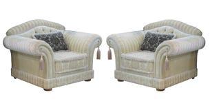 Retro klassieke uitstekende die luxestoelen over wit worden geïsoleerd Stock Fotografie