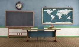 Retro klassrum utan studenten stock illustrationer