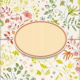 Retro klistermärkebakgrund för blomma stock illustrationer