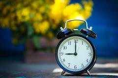 Retro `-klocka för nolla 9 Blommor i gammal träask Bakgrund för dagljusträdgård med utrymme för text Royaltyfri Foto