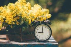 Retro `-klocka för nolla 9 Blommor i gammal träask Bakgrund för dagljusträdgård med utrymme för text Fotografering för Bildbyråer