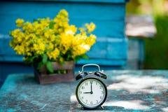 Retro `-klocka för nolla 9 Blommor i gammal träask Bakgrund för dagljusträdgård med utrymme för text Arkivfoton