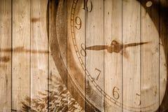 retro klocka på selektiv fokus för wood bakgrund på för nolla-` för nummer 8 klockan Arkivbilder