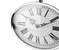 Retro klocka på vit bakgrund Royaltyfri Bild