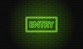 Retro klubbainskrifttillträde Elektrisk skylt för tappning med ljusa neonljus Klarteckennedgångar på en tegelstenbakgrund vektor Arkivbild