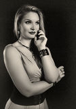 Retro kobiety sepiowy portret Obrazy Royalty Free