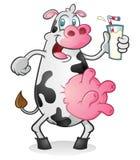 Retro koe het drinken melk Royalty-vrije Stock Fotografie