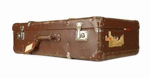 Retro koffer die op wit wordt geïsoleerdt Stock Foto
