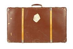 Retro koffer die op wit wordt geïsoleerdt Stock Fotografie