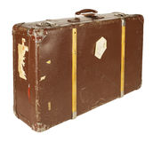 Retro- Koffer getrennt auf Weiß Lizenzfreies Stockbild