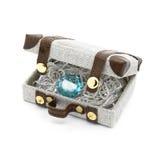 Retro koffer met zilveren en blauwe topaas Royalty-vrije Stock Afbeelding