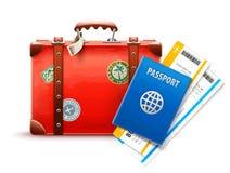 Retro koffer, paspoort en luchtvaartlijnkaartjes Stock Afbeelding