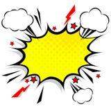 Retro komiczni projekt mowy bąble Błyskowy wybuch z chmurami ilustracja wektor