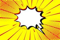 Retro komiker för popkonst Gul bakgrund Prickar för blixttryckvåghalvton Tecknad film vs vektor vektor illustrationer