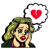 Retro komiksu wystrzału sztuki dziewczyna płacze hearted wektor Obraz Stock