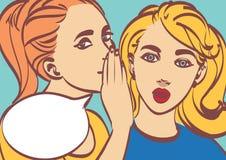 Retro- komische Illustration der netten Vektorpop-art Frau, die Klatsch oder Geheimnis zu ihrem Freund flüstert Eine sprechenpers stock abbildung