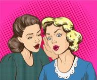 Retro- komische Vektorillustration der Pop-Art Frau, die Klatsch oder Geheimnis zu ihrem Freund flüstert lizenzfreie abbildung