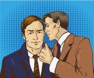 Retro- komische Vektorillustration der Pop-Art Gespräch mit zwei Geschäftsmännern miteinander Mann erklären Betriebsgeheimnis sei Lizenzfreie Stockbilder