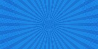 Retro- komisches der Pop-Art Blauer Hintergrundsuperheld Blitzexplosions-Halbtonpunkte Karikatur gegen Auch im corel abgehobenen  lizenzfreie abbildung