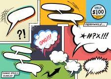 Retro komiska anförandebubblor royaltyfri illustrationer