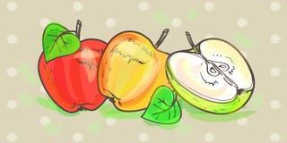 Retro konstuppsättning för äpplen royaltyfri illustrationer