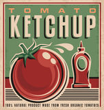 Retro- Konzept des Entwurfes des Tomaten-Ketschups vektor abbildung