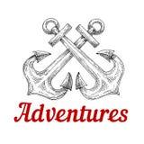 Retro korsade nautiska ankaren skissar Royaltyfria Bilder