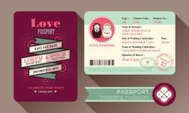 Retro kort för inbjudan för visumpassbröllop Arkivfoto