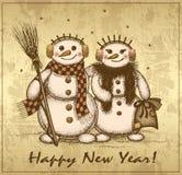 Retro kort för jul med två snögubbear pojke och flicka stock illustrationer