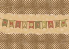 Retro kort för nytt år med celebratory flaggor Arkivfoto