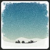Retro kort för tom vinterplats med Copyspace royaltyfri illustrationer