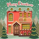 Retro kort för glad jul Övervintra landskapet med huset, gran-trädet och snöfall Royaltyfria Bilder