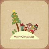 Retro kort för jul med hus Royaltyfria Foton