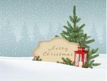 Retro kort för tappningjulhälsning, inbjudan Snöig vinterlandskap med gran, prydlig julgran, pappers- etikett för text Arkivbilder