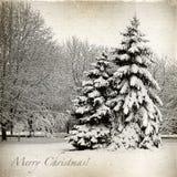 Retro kort med jul, vinterlandskap Royaltyfri Bild